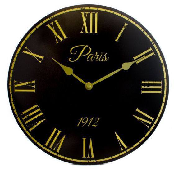 Black Paris Shabby Chic Vintage French Style Wall Clock Roman Numerals Wooden